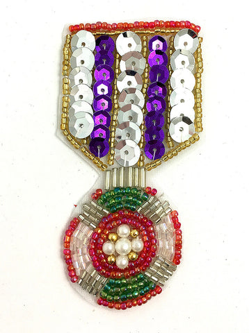 "Badge Medal with Multi-Colored Sequins and Beads 3.5"" x 2"""