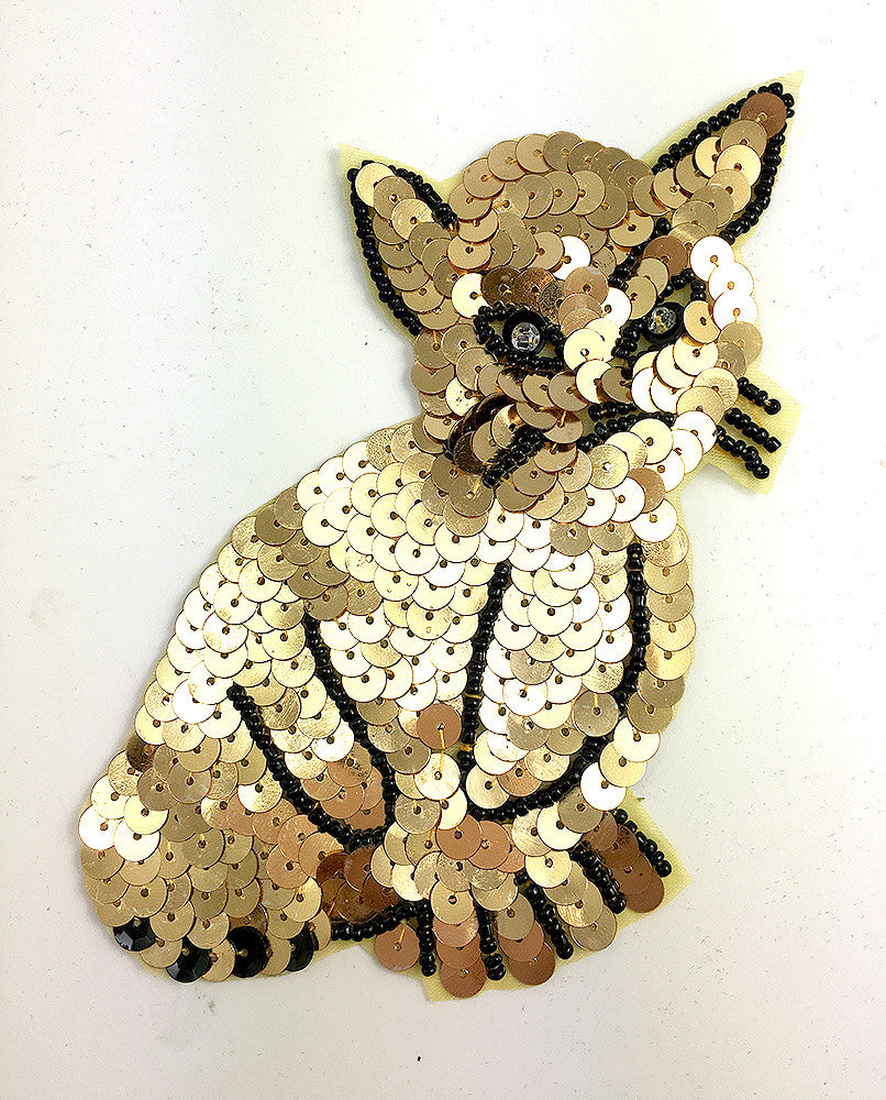 "Cat with Gold Sequins and Black Beads 5"" x 3.5"""