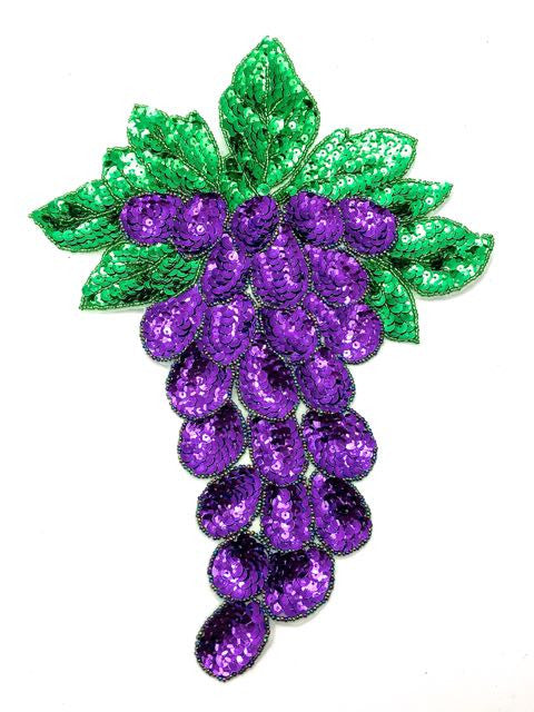 "Grape with Leaf Purple and Green Sequins and Beads 12.5"" x 9"""