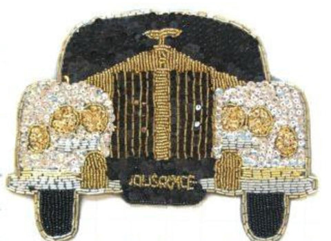 "Rolls-Royce Auto Silver Gold Black Sequins and Beads  6.5"" x 8.5"""