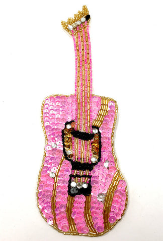 "Guitar with Pink Sequins and Beads  8.5"" x 3"""