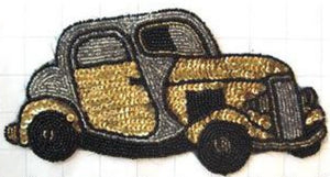 "Classic Car, Gold and Black/Silver Sequins and Beads  4"" x 8.5"""