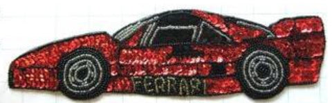 "Ferrari Sports Car Red and Black Sequins 10"" x 3"""