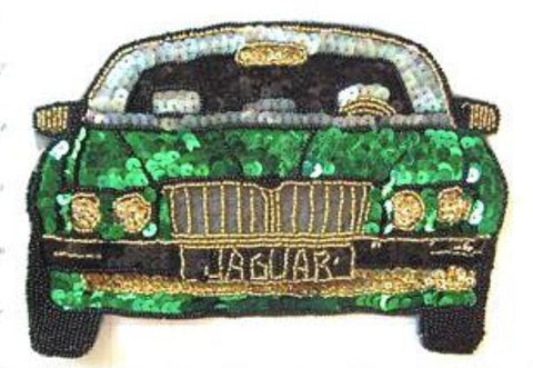 "Jaguar with Green Sequins, Gold Beads 8"" x 5.5"""