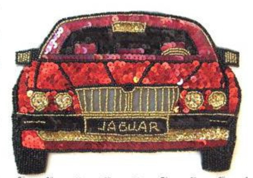 "Jaguar with Red Gold Black Sequins and Beads 5.5"" x 8"""