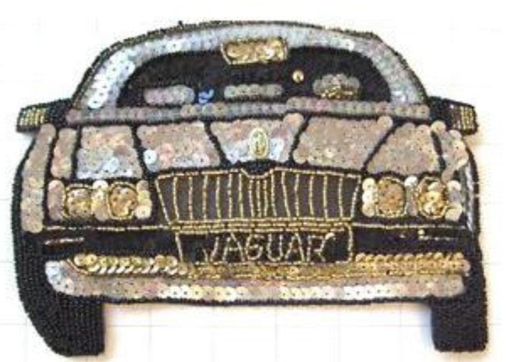 "Jaguar Silver Black Gold Sequins and Beads 5.5"" x 8"""