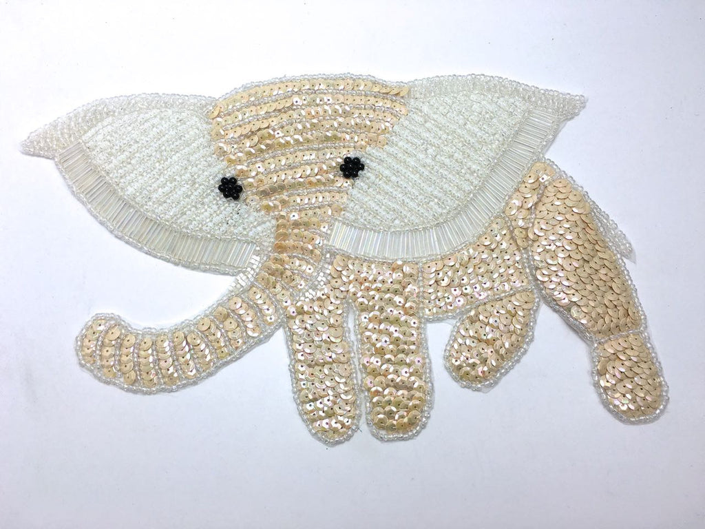 "Elephant with Light Beige and White Sequins and Beads 7.5"" x 12.5"""