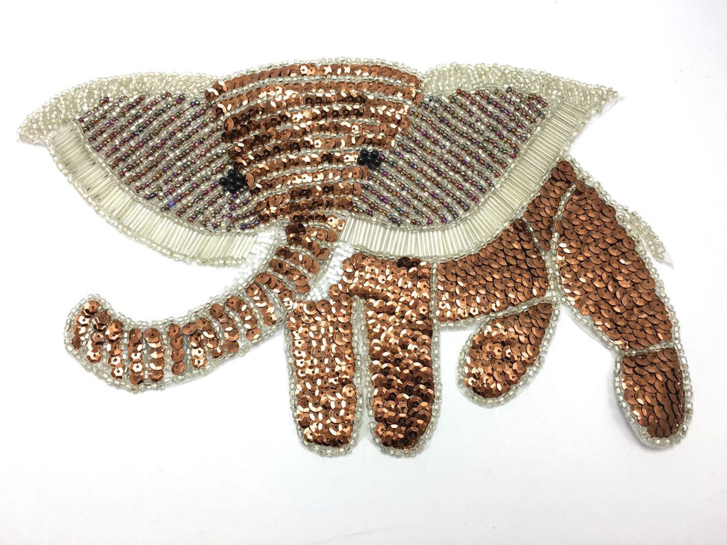 "Elephant with Bronze and White Sequins and Beads 12.5 ""x 7.5"""