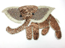 "Load image into Gallery viewer, Elephant with Bronze and White Sequins and Beads 12.5 ""x 7.5"""
