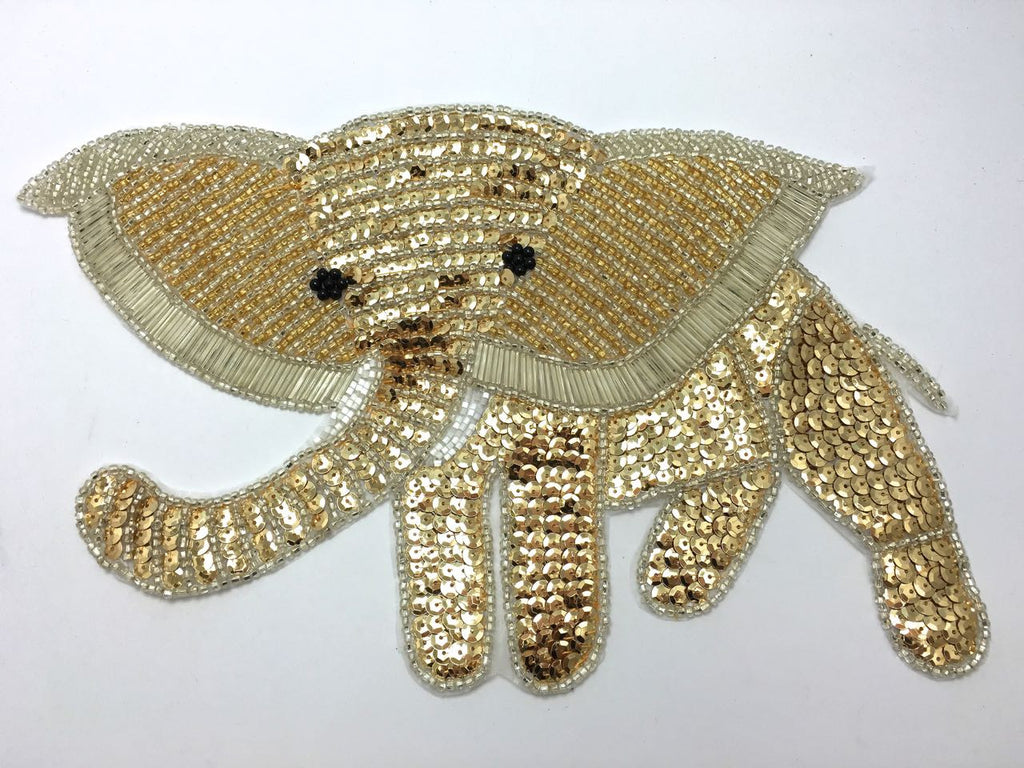 "Elephant with Gold and Silver Sequins and Beads 7.5"" x 12.5"""