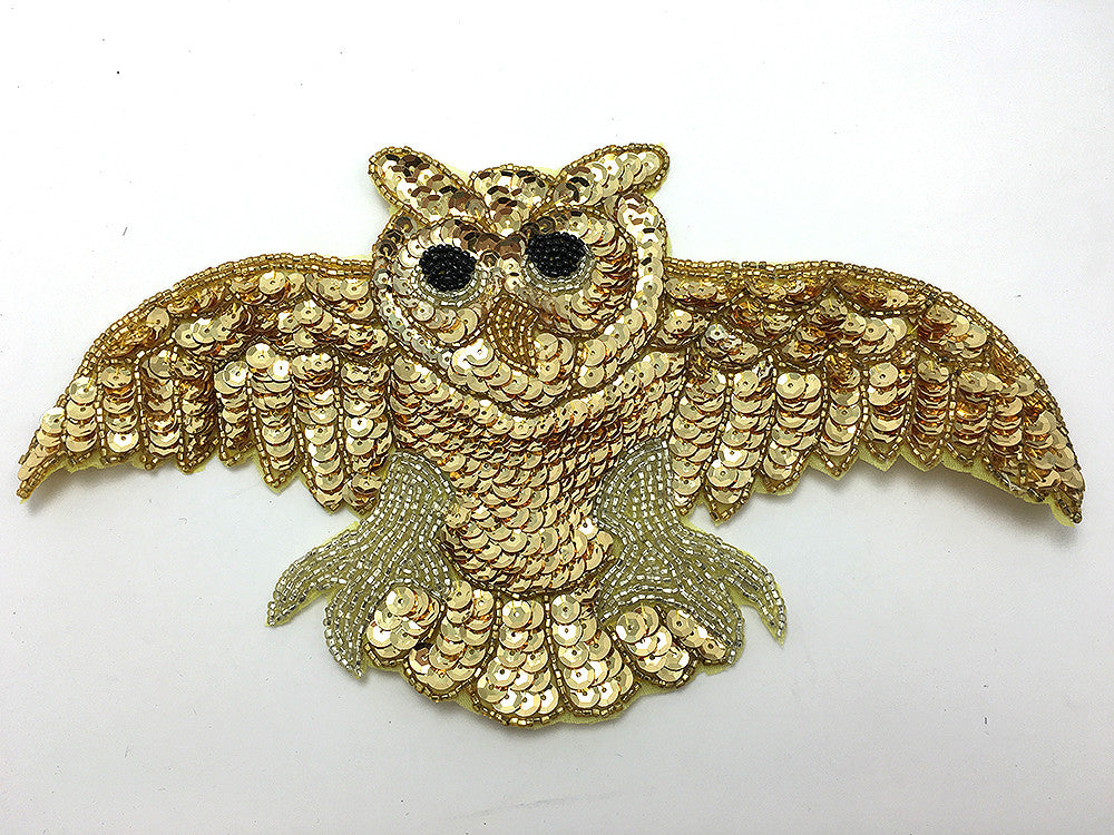 "Gold Open Wing Owl 10.5""x 5.5"""