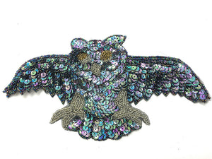 "Owl with Moonlight Sequins and Beads 10.5"" x 5.5"""