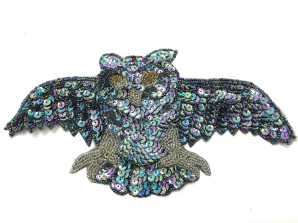 Owl with Moonlight Sequins and Beads 10.5