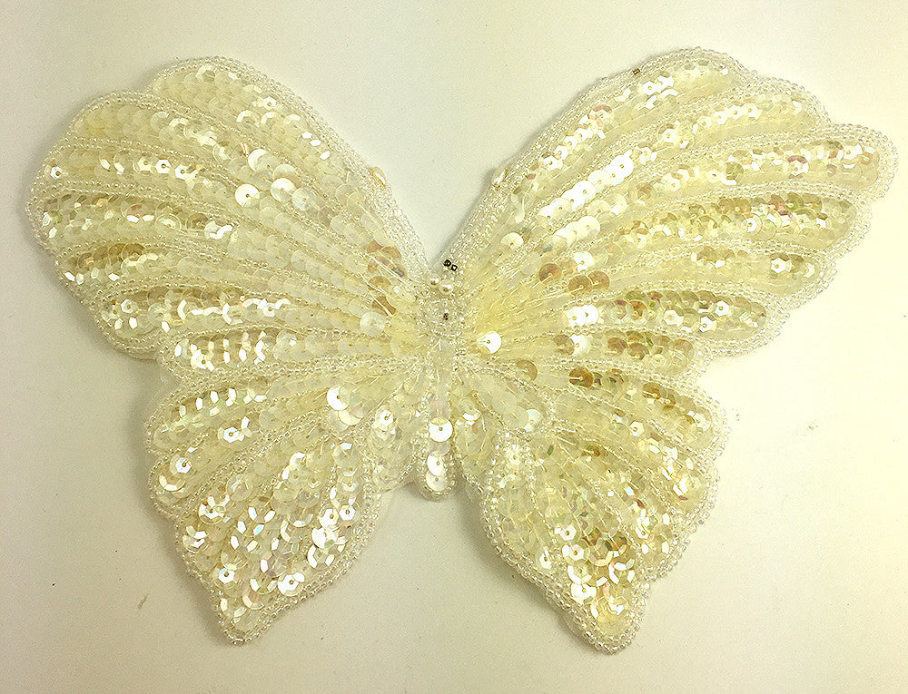 "Butterfly with Iridescent Sequins and Beads 9"" x 6"""