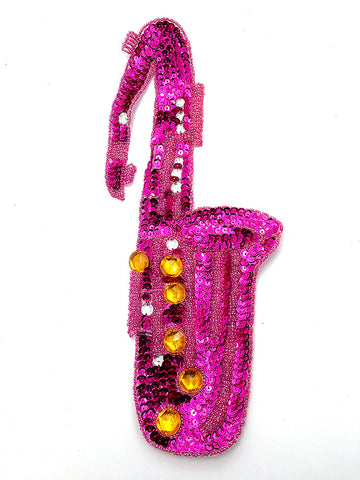 "Saxophone Fuchsia Sequins and Gold Beads 13"" X 6"""