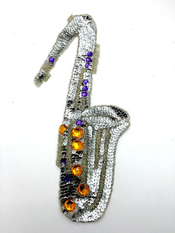 "Saxophone Silver Sequins Multi-Colored Beads 13"" x 6"""