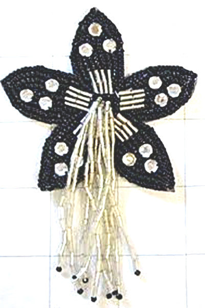 "Flower Epaulet Black and Clear  Beaded with Rhinestones 4.5"" x 3"""