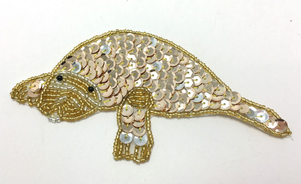 "Manatee with Gold Sequins and Beads 2.5"" x 5"""