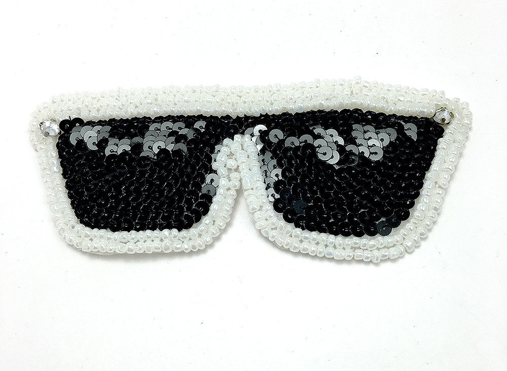"Sunglasses with Black Sequins and White Beads 2"" x 5"""