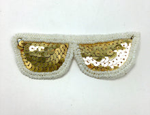 "Load image into Gallery viewer, Sun Glasses with Gold Sequins and White Beads 1.5"" x 4.5"""