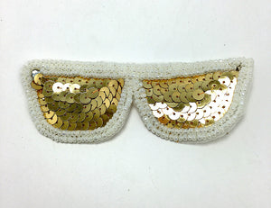 "Sun Glasses with Gold Sequins and White Beads 1.5"" x 4.5"""