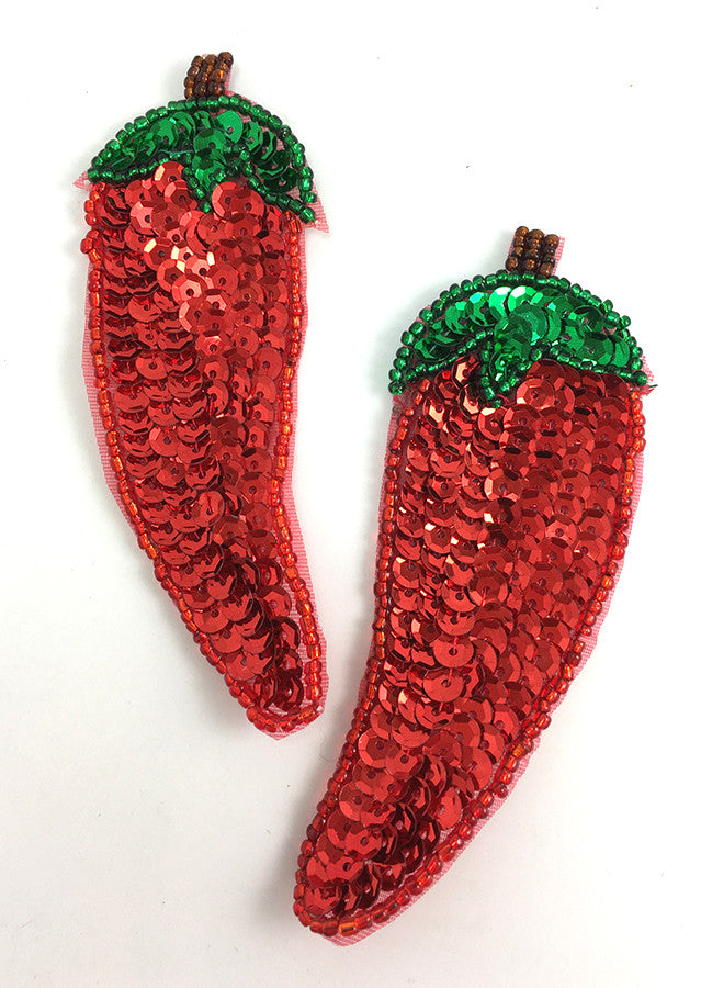 "Chili Pepper Pair with Red and Green Sequins  4"" x 1.5"""