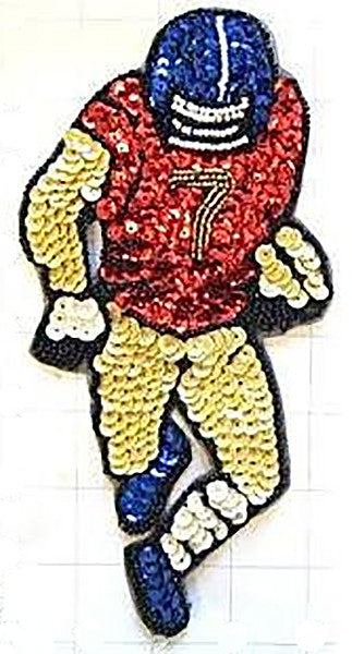 "Football Player Red Gold Blue Sequins and Beads 8"" x 4.25"""
