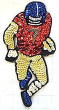 "Load image into Gallery viewer, Football Player Red Gold Blue Sequins and Beads 8"" x 4.25"""
