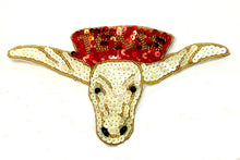 "Load image into Gallery viewer, Steer Texas Longhorn with Word Texas, Beige, Red and Gold Sequins and Beads 4"" x 7.5"""