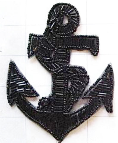 "Anchor Black Beads 4.5"" x 3.5"""