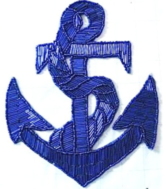 "Anchor Royal Blue Beaded Large 9"" x 7"" - Sequinappliques.com"