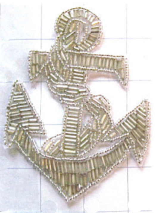 "Anchor with all Silver Beads 4"" x 4"" - Sequinappliques.com"