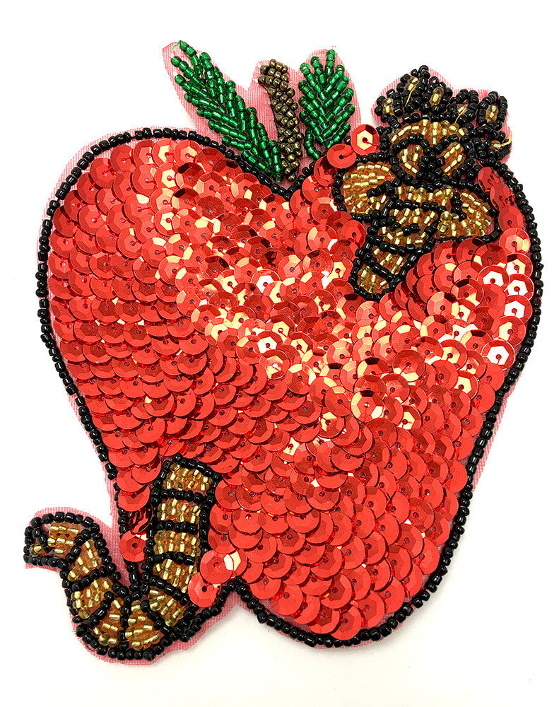 "Apple with Worm 5"" x 4.5"" - Sequinappliques.com"