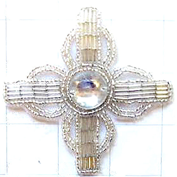 Designer Motif with Silver Beads and Center Jewel 3.25""