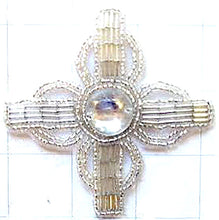 Load image into Gallery viewer, Designer Motif with Silver Beads and Acrylic Center Stone 3.25""