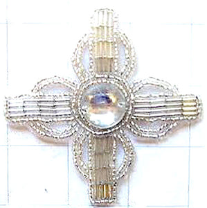 Designer Motif with Silver Beads and Acrylic Center Stone 3.25""