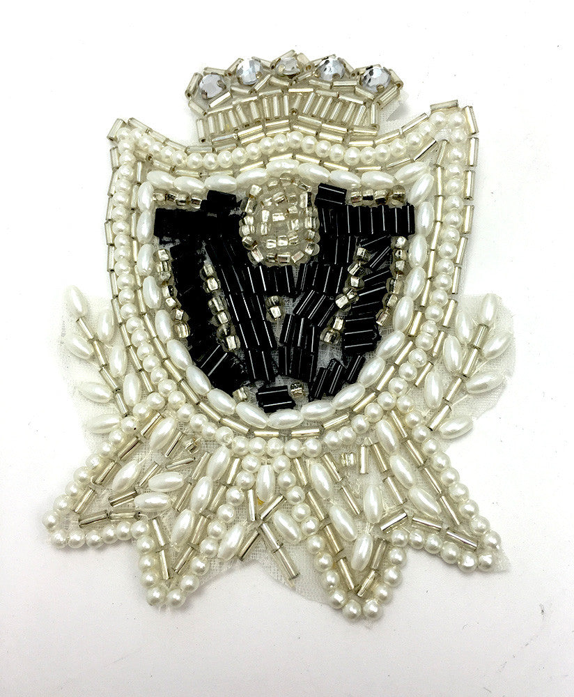 "Crest with Black, White Silver Beads and Rhinestones 3.5"" x 2.5"""