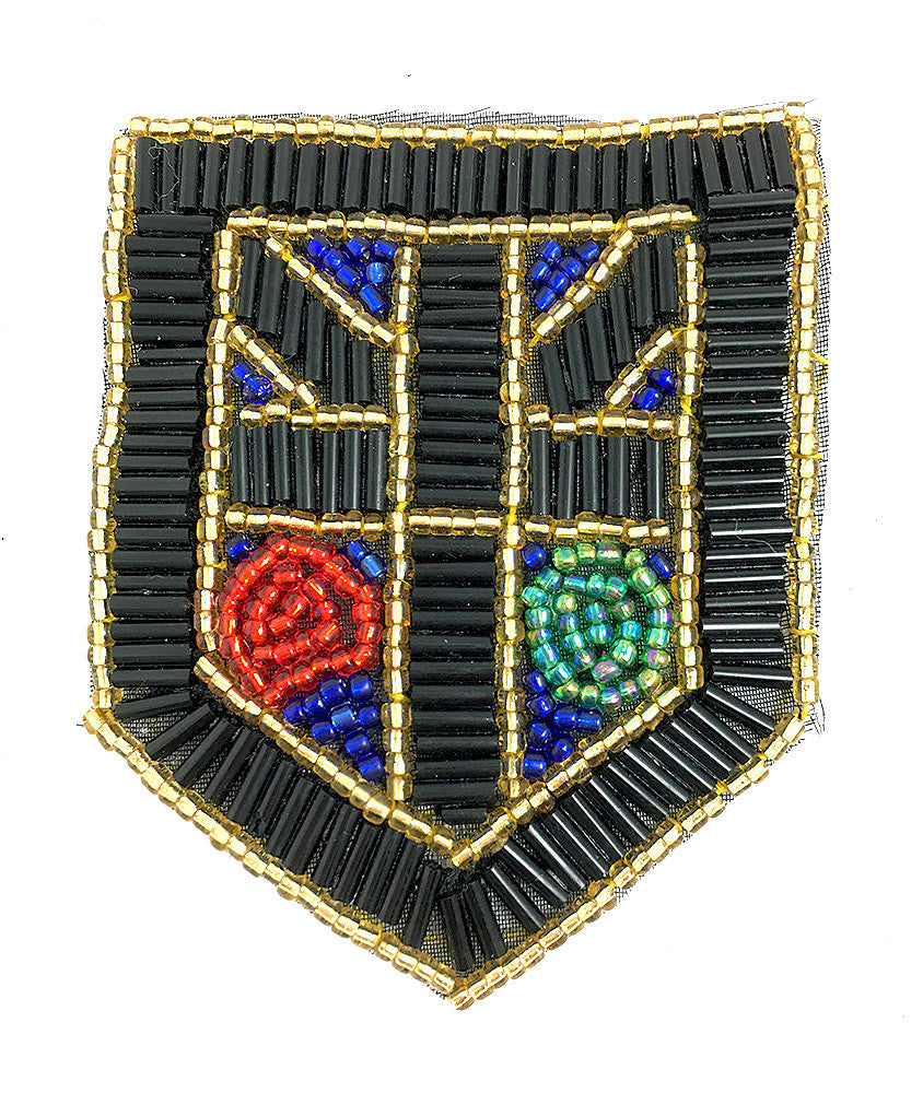 "5 PACK Designer Motif Crest Patch with Black Gold Turquoise and Red Beads 4"" x 3"" - Sequinappliques.com"