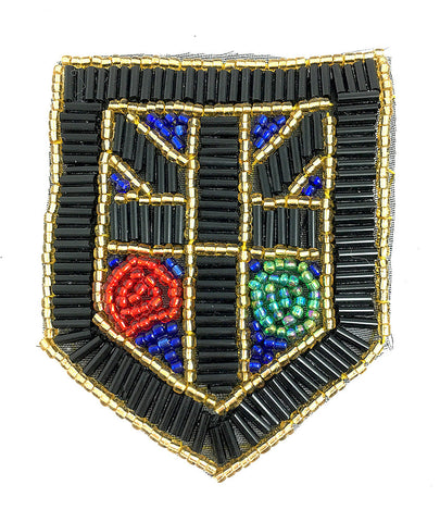 "5 PACK Designer Motif Crest Patch with Black Gold Turquoise and Red Beads 4"" x 3"""