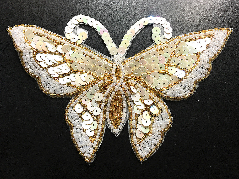 "Butterfly Cream Sequins, Gold and White Beads and Pearls 6.75"" x 4.25"""