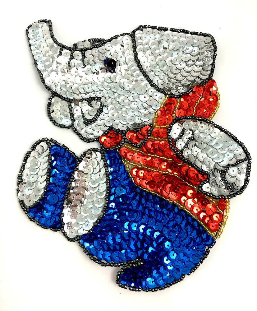 "10 PACK Elephant Playful Sequin Beaded 6.5"" x 5.5"" - Sequinappliques.com"