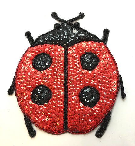 "5 PACK Ladybug with Red an Black Sequins and Beads 7.5"" x 6"""