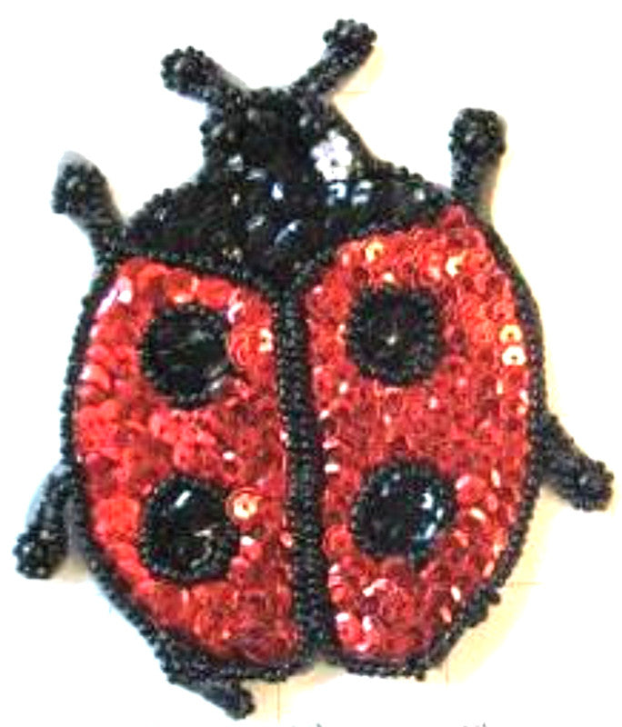 "Ladybug with  Red and Black Sequins and Spots 4.5"" x 3.5"""