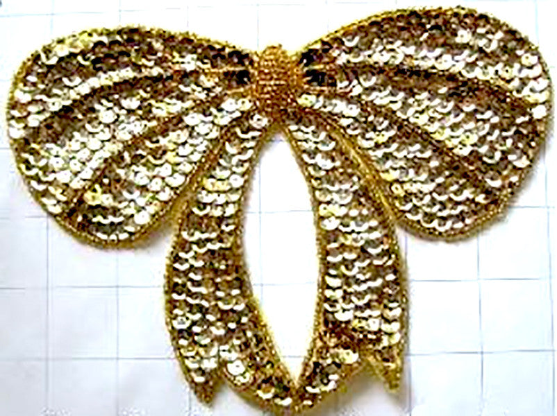 "5 PACK Bow with Gold Sequins and Beads  6"" x 8"" - Sequinappliques.com"