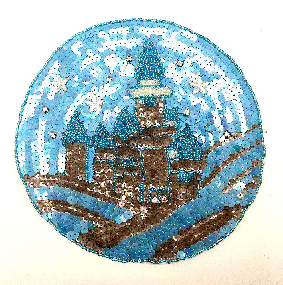 Starry Sky w/Castle. Blue and Bronze Sequins and Beads 7.75""