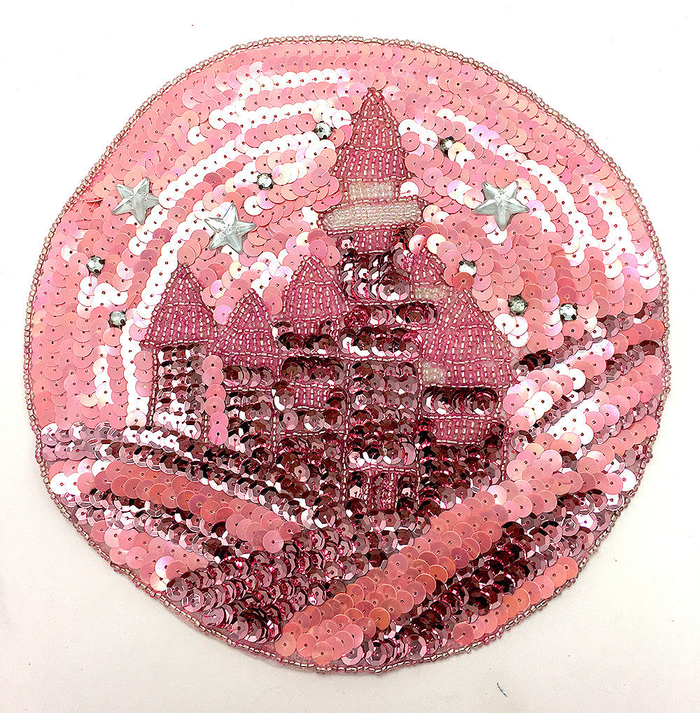 Starry  Sky Over Castle. Pink Sequins & Beads & Rhinestones 7.75""