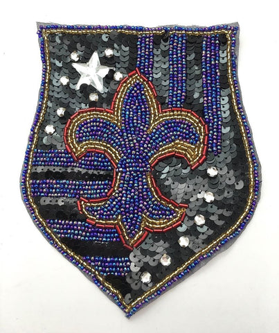 "Fleur De Lis with Blue Beads 4.5"" x 6"""
