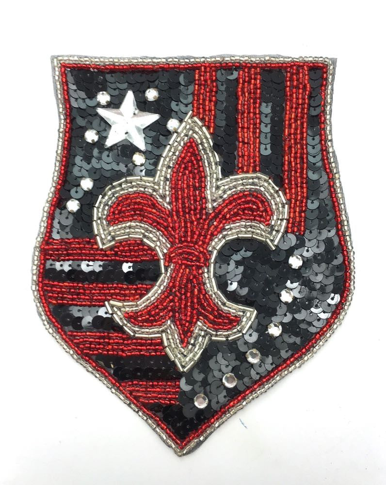 "Fleur de Lis Crest with Red Beads 4.5"" x 6"""