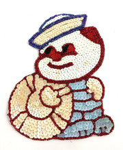 "Load image into Gallery viewer, Vintage Cartoon Style Sailor Boy, Sequin Beaded 7.5"" x 6"""