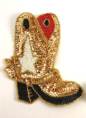 "Boot Cowboy with Multi-Colored Sequins and Beads 6"" x 5"""